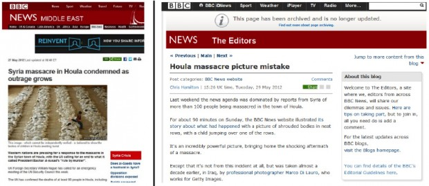 Unverified image placed out of context and its correction. <i>Source:</i> BBC News website of 27 and 29 May 2012.